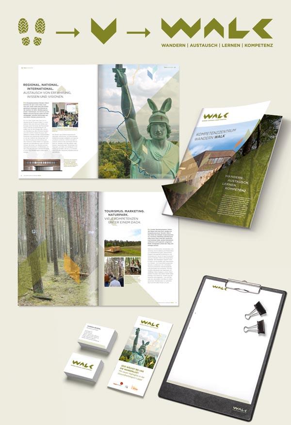 Printmaterialien Kompetenzzentrum Wandern WALK im Jahr der Werbung